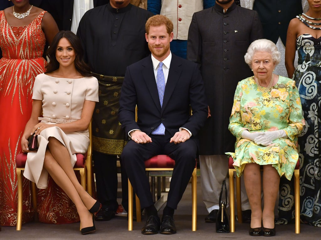 Meghan Markle and Prince Harry were front and center at the queen's Young Leaders Awards in June 2018.