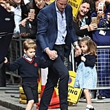Prince George and Princess Charlotte at Hospital to See Baby