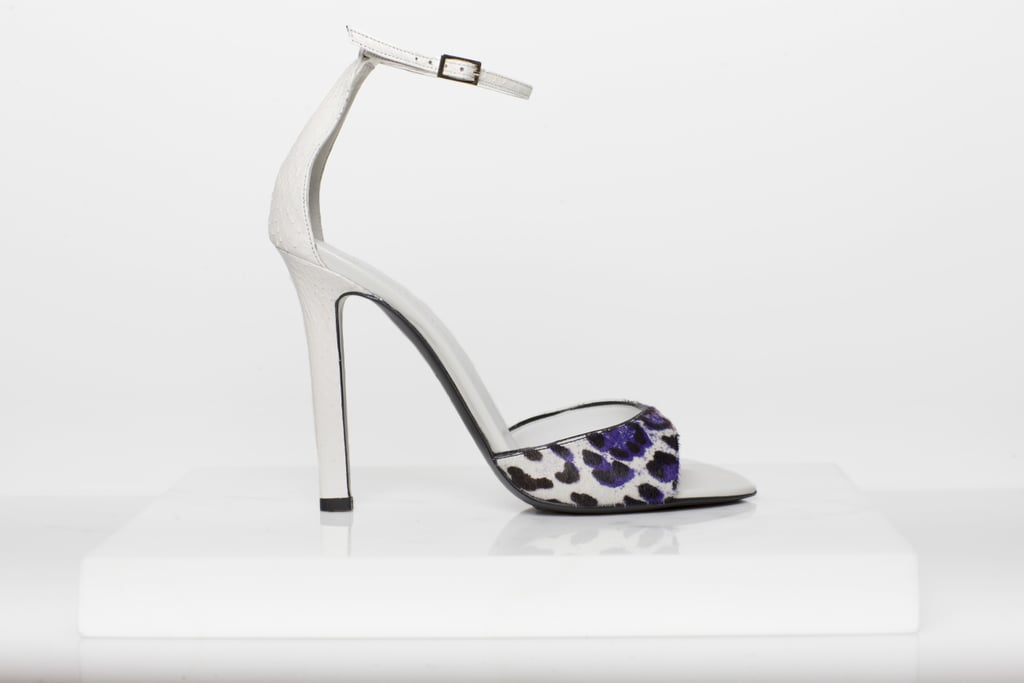 Wild Night Pony Sandal in Purple/Cream Leopard With Cream Watersnake Trim Photo courtesy of Tamara Mellon
