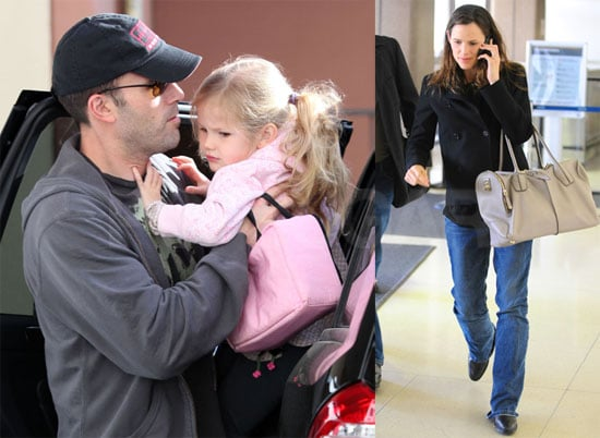 Photos of Jennifer Garner Departing LAX Wearing Jeans and Carrying a Large White Bag