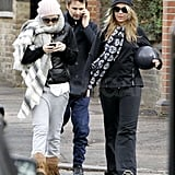 Kate Hudson texted while Matthew Bellamy chatted on his phone.