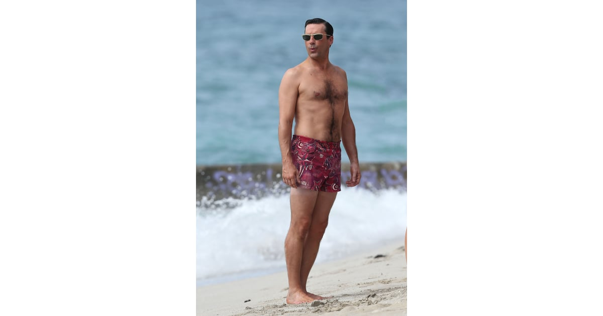 210c21c72f Jon Hamm wore retro-cool swim trunks while shooting scenes for Mad   Best  Celebrity Shirtless Pictures of 2012   POPSUGAR Celebrity Photo 6