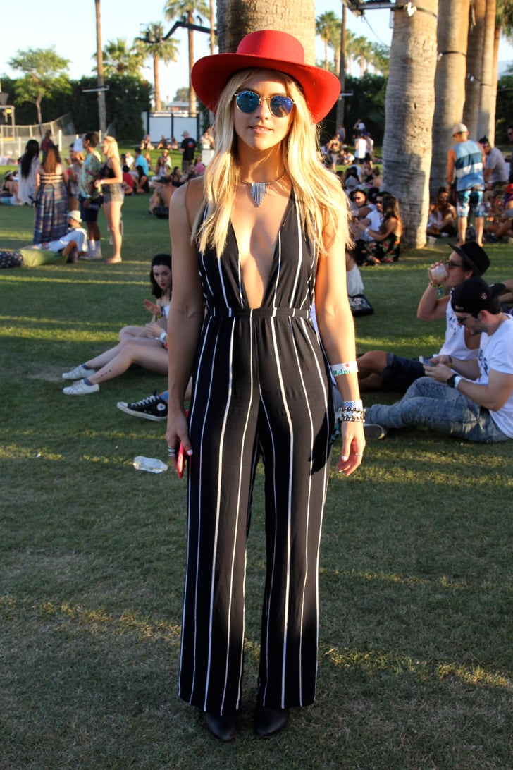 A striped Shopbop romper with a plunging neckline stood ...