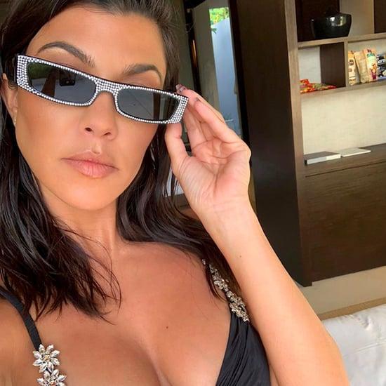 Kourtney Kardashian Black Bikini Top With Flowers May 2019