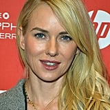 Naomi Watts accessorized her Winter look with a gold pyramid necklace by Jennifer Meyer.