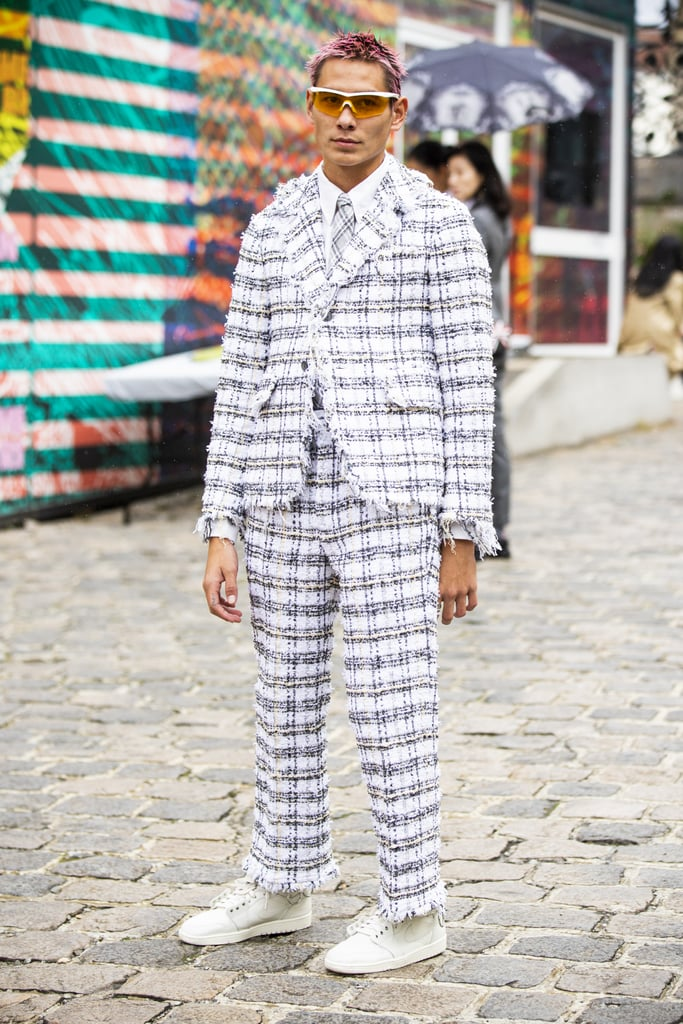 Rocking a checked suit outside the Thom Browne show in 2020.