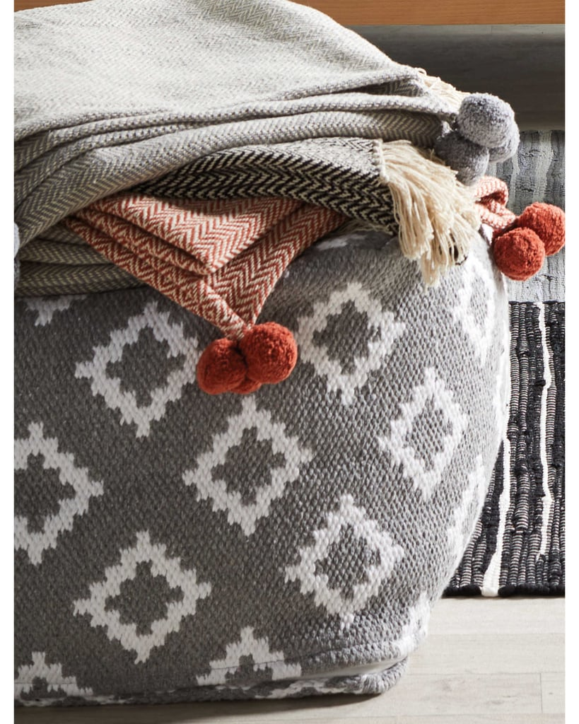 Aldi Pom Poms Herringbone Woven Throw