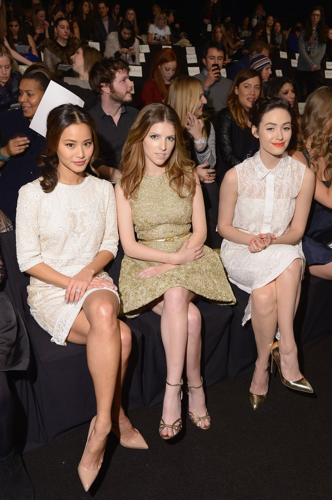 Jamie Chung, Anna Kendrick and Emmy Rossum watched the Monique Lhuillier show together.