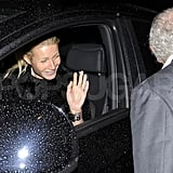 Gwyneth Paltrow waved bye to Philip Green after a party at the Mayfair Arts Club.