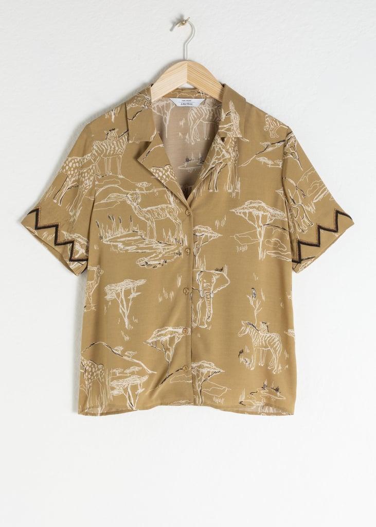 & Other Stories Safari Print Button Up Shirt