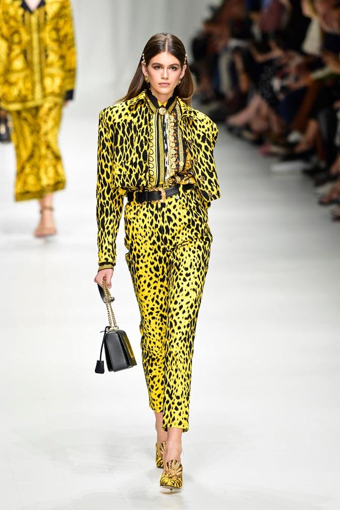 Kaia Walked the Versace Runway in 2 High-Octane Looks