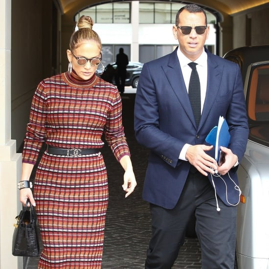 Jennifer Lopez Plaid Dress and Platform Heels