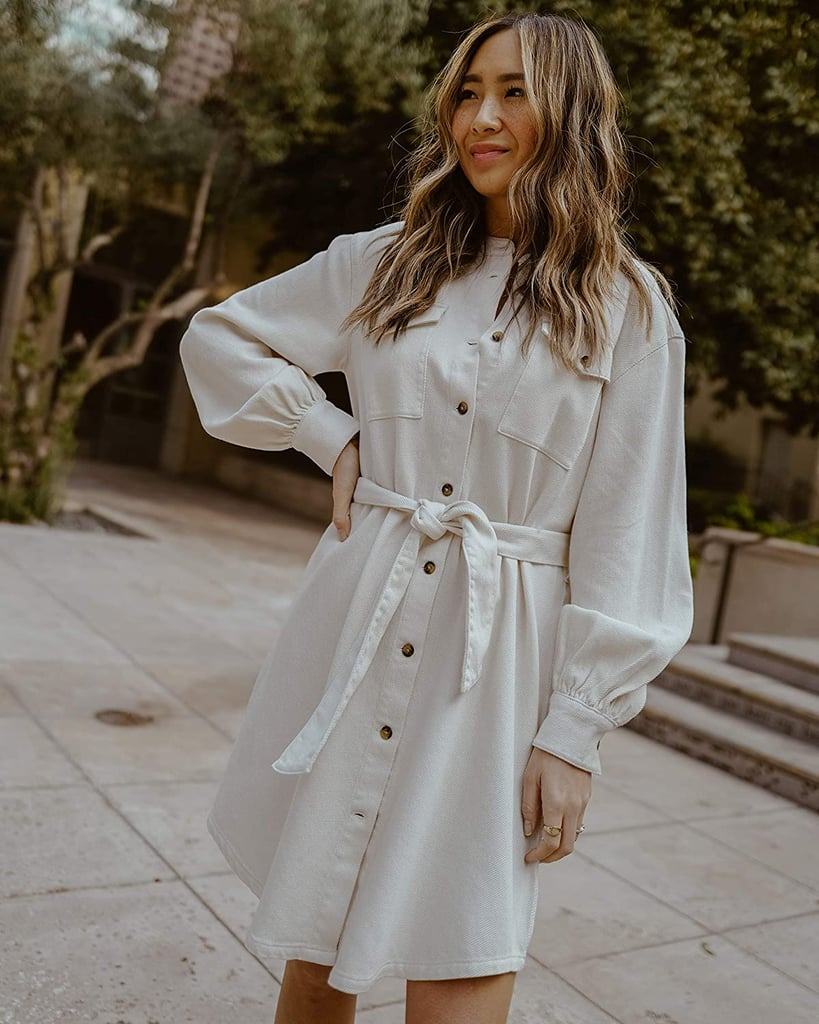 The Drop Ivory Utility Tie-Waist Loose-Fit Shirt Dress by @spreadfashion