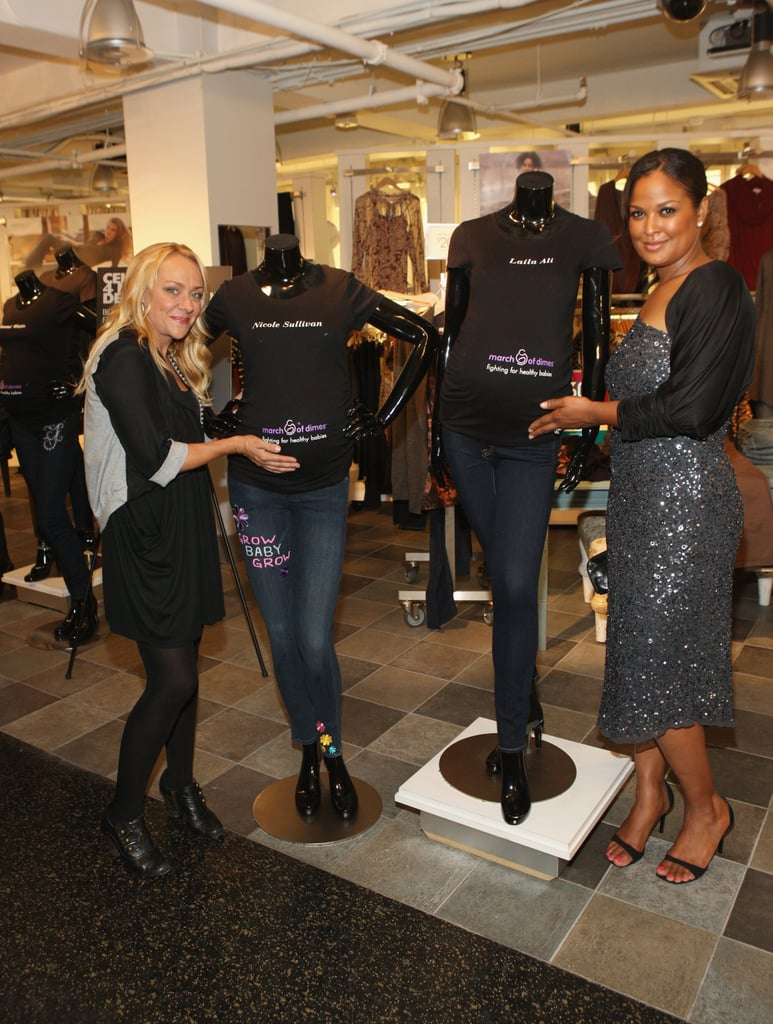 """Ali and Sullivan posed with their one-of-a-kind maternity jeans for the """"Celebrities 4 Maternity Denim"""" online auction benefiting the March of Dimes."""