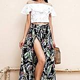 Souleader Boho Floral Tie Skirt