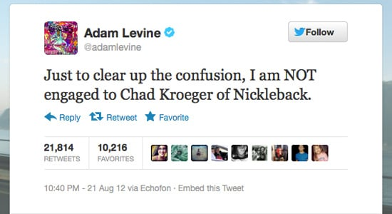 Adam Levine wanted to clarify that he's not Avril Lavigne.