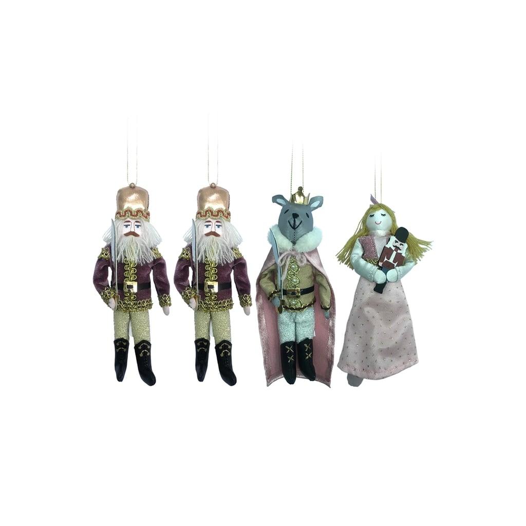 4ct Enchanted Eve Fabric Royal Characters Christmas Ornament Set ...