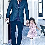 Ben Affleck glanced down at Seraphina Affleck as they held hands in Brentwood.