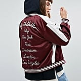 Obey Satin Bomber Jacket With Eagle Embroidery and Back Design ($154)