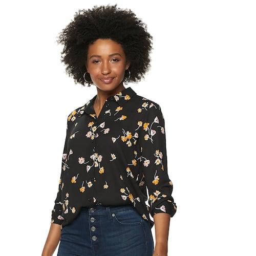 POPSUGAR Essential Button Down Shirt in Black Keepsake Floral