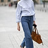 In a wide cut with a minimalist top and heels