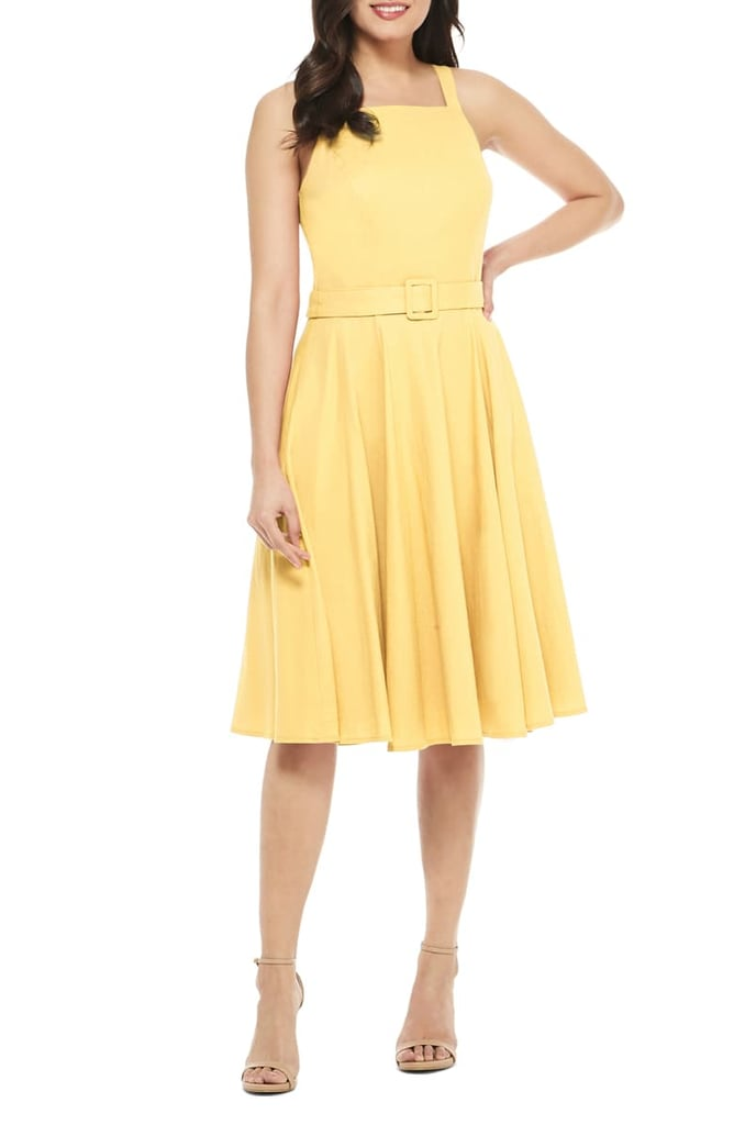 Gal Meets Glam Collection Ruth Square Neck Linen Blend Sundress