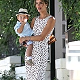 A glam Alessandra Ambrosio carried her little Noah around LA.