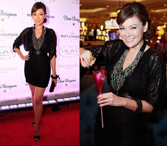 Lindsay Price Wearing Black Lace Blouse and Chain Necklace in Las Vegas