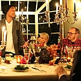 Charlize Theron and Terry Richardson listened to Pharrell Williams at dinner.