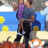 Olivier Martinez took his stepdaughter, Nahla, to a pumpkin patch in LA while his wife, Halle Berry, rested in a hospital after giving birth.