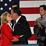 Mitt Romney and his wife kiss on the night of the Iowa caucuses.