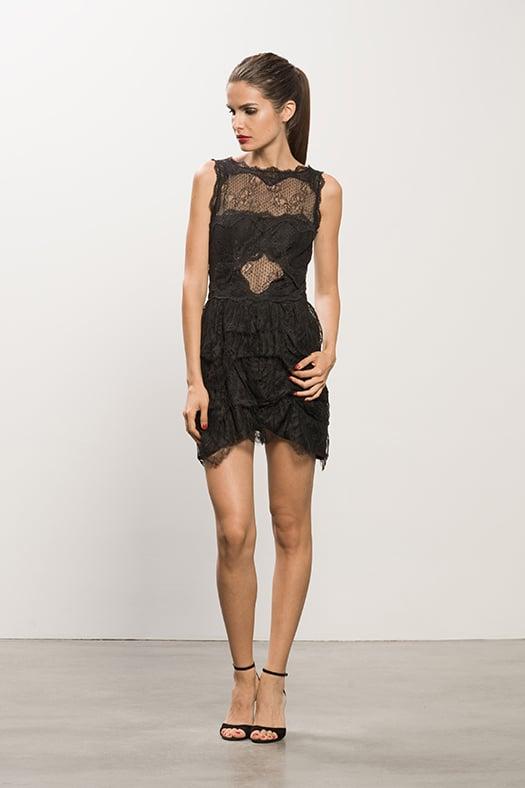 Lace Peekaboo Black Dress ($950), Whisper Black Suede Sandal ($595) Photo courtesy of Tamara Mellon