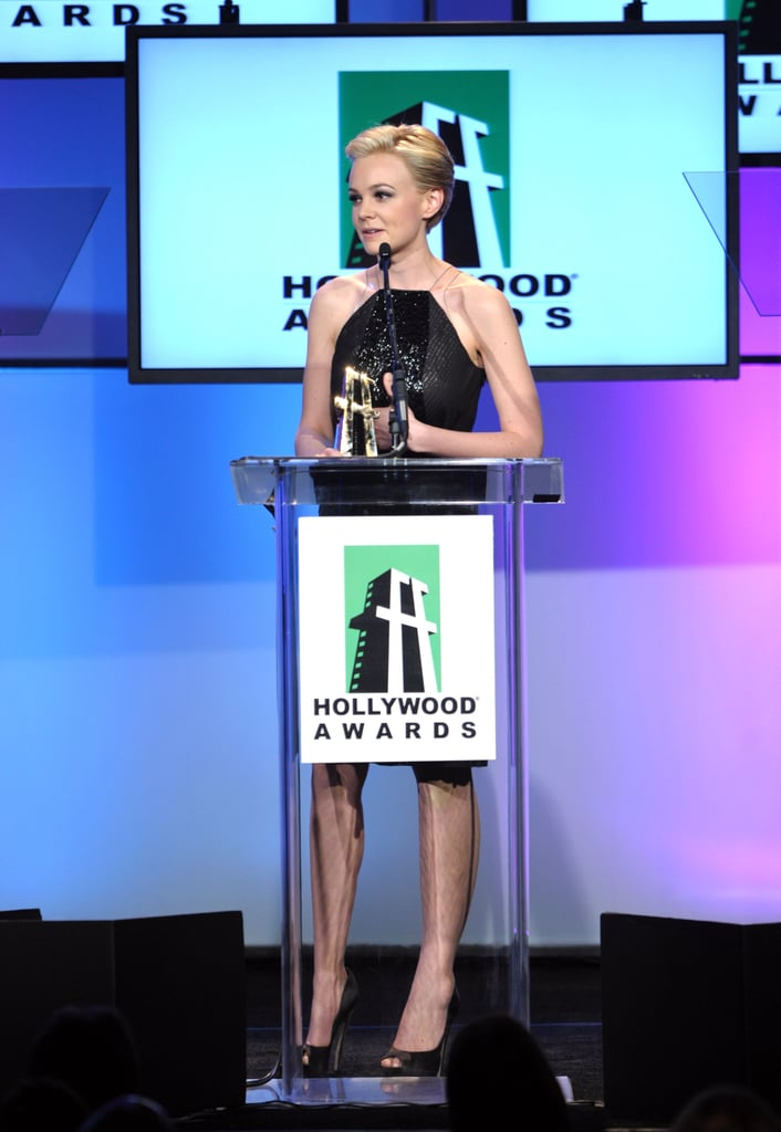 Carey Mulligan on stage at the 2011 Hollywood Film Awards.