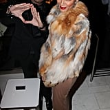 Selita Ebanks wore a fur coat to Jay-Z's 40/40 Club.