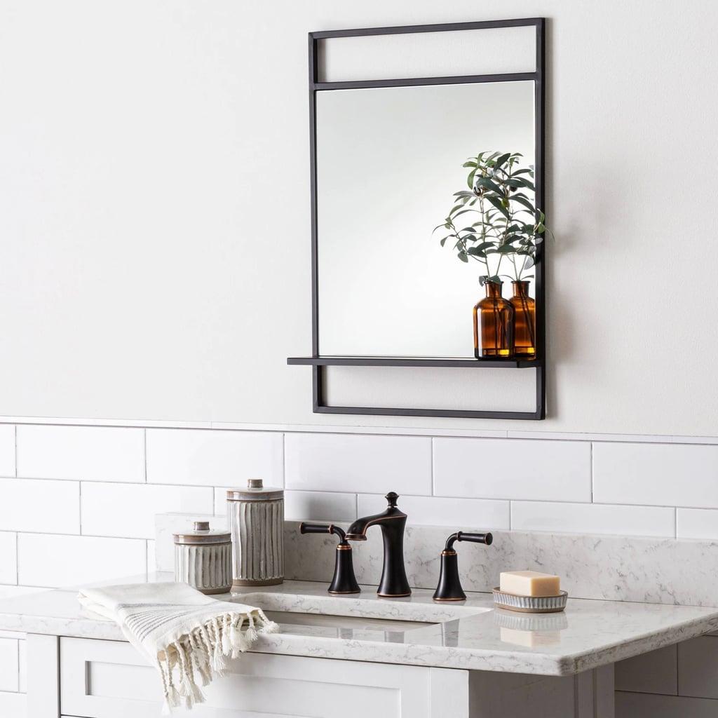 Bath Mirror With Shelf in Black