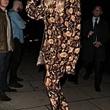 Margot Robbie Pajamas and Gold Loeffler Randall Heels