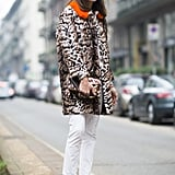 Livened up with leopard print — and some metallic kicks.  Source: Le 21ème | Adam Katz Sinding