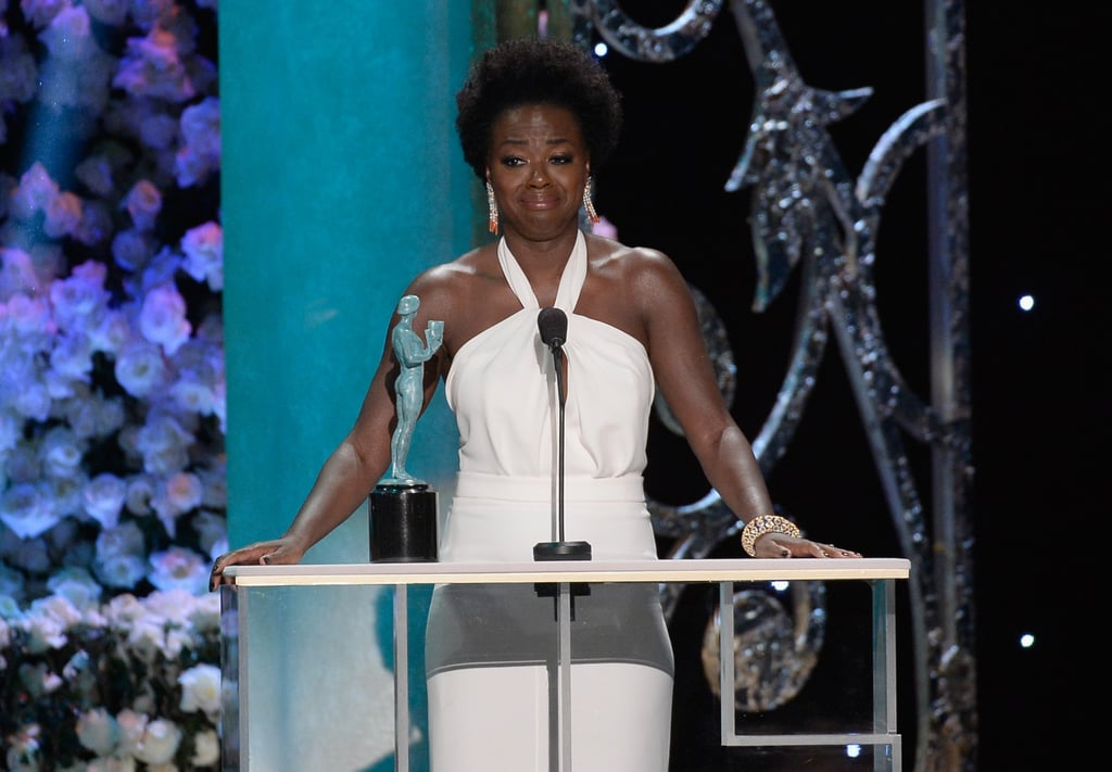 Viola Davis teared up while accepting her trophy in 2015.