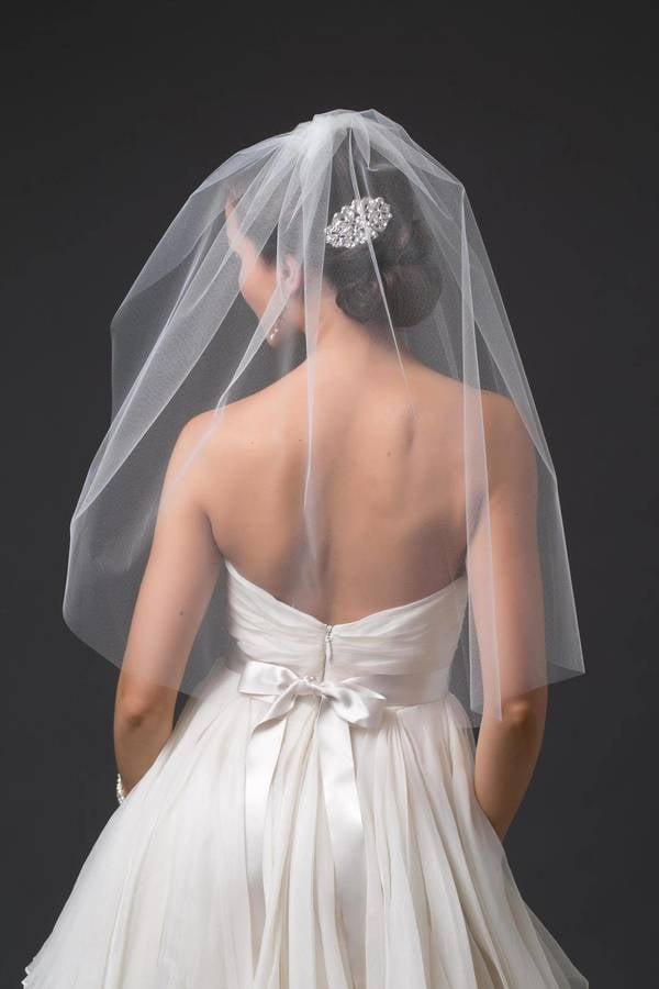 A classic blusher veil like this Toni Federici ($150) goes great with strapless gowns.