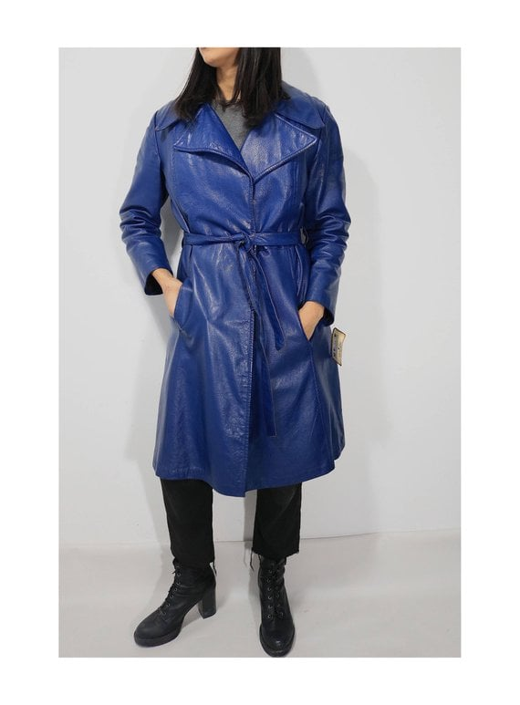 Etsy Blue Leather 70's Trench Coat