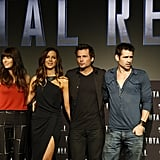 Jessica Biel, Kate Beckinsale, Len Wiseman, and Colin Farrell attended the Total Recall photocall in Cancun, Mexico.
