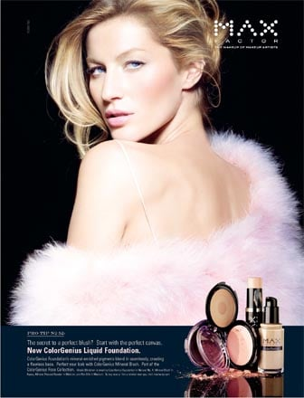 Photo of Supermodel Gisele Bundchen Officially Face of Max Factor Makeup Brand 100 Year Anniversary 2009 Deal