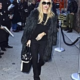 Rachel Zoe hit the streets in a dramatic coat.