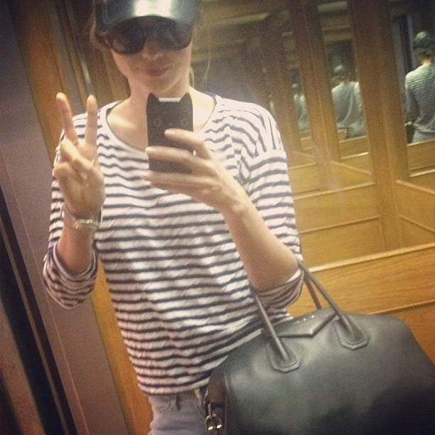 Miranda Kerr stopped for a quick photo in an elevator in March 2013.  Source: Instagram user mirandakerr