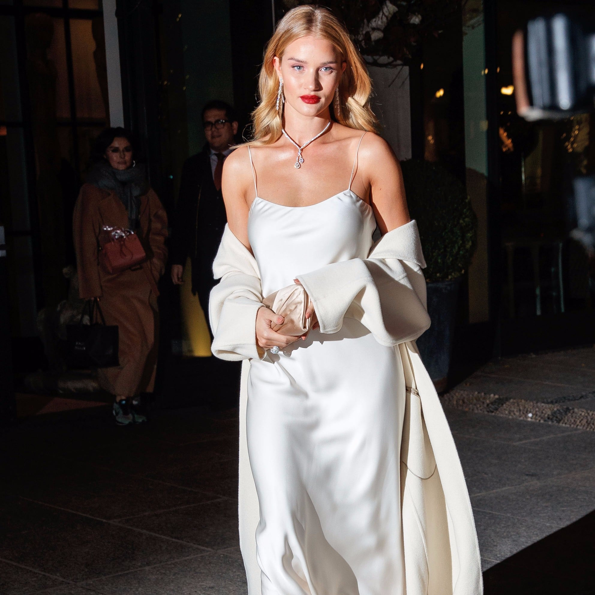 ee236f4138a2b Rosie Huntington-Whiteley's White Slip Dress | POPSUGAR Fashion