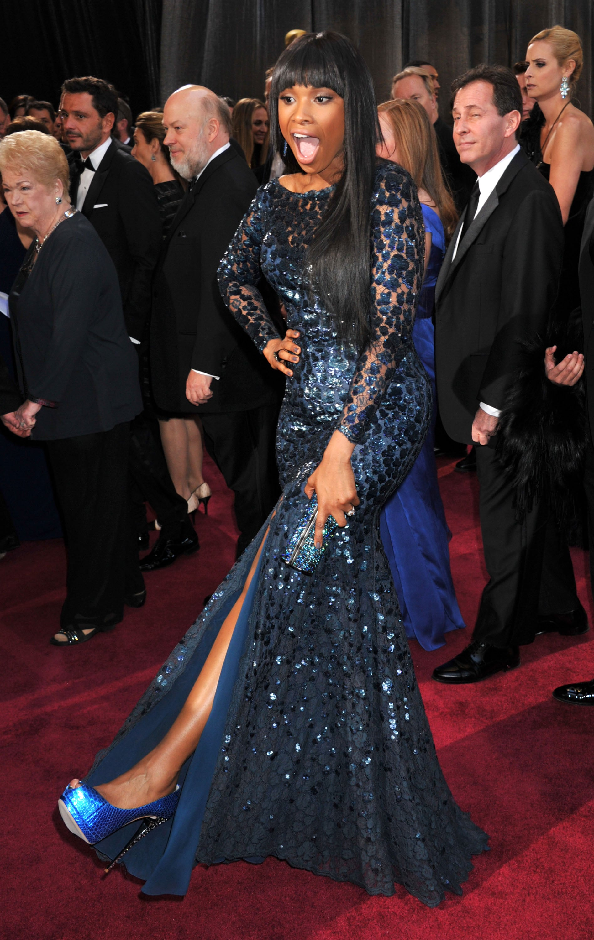 Jennifer Hudson kicked up her heels for the cameras on the red carpet.