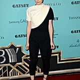 Rooney Mara celebrated with The Great Gatsby in a chic, black-and-white Giambattista Valli outfit and Jennifer Meyer rings.