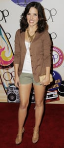 Sophia Bush Attends the OP Launch Party in LA in Army Green Shorts and Brown Jacket