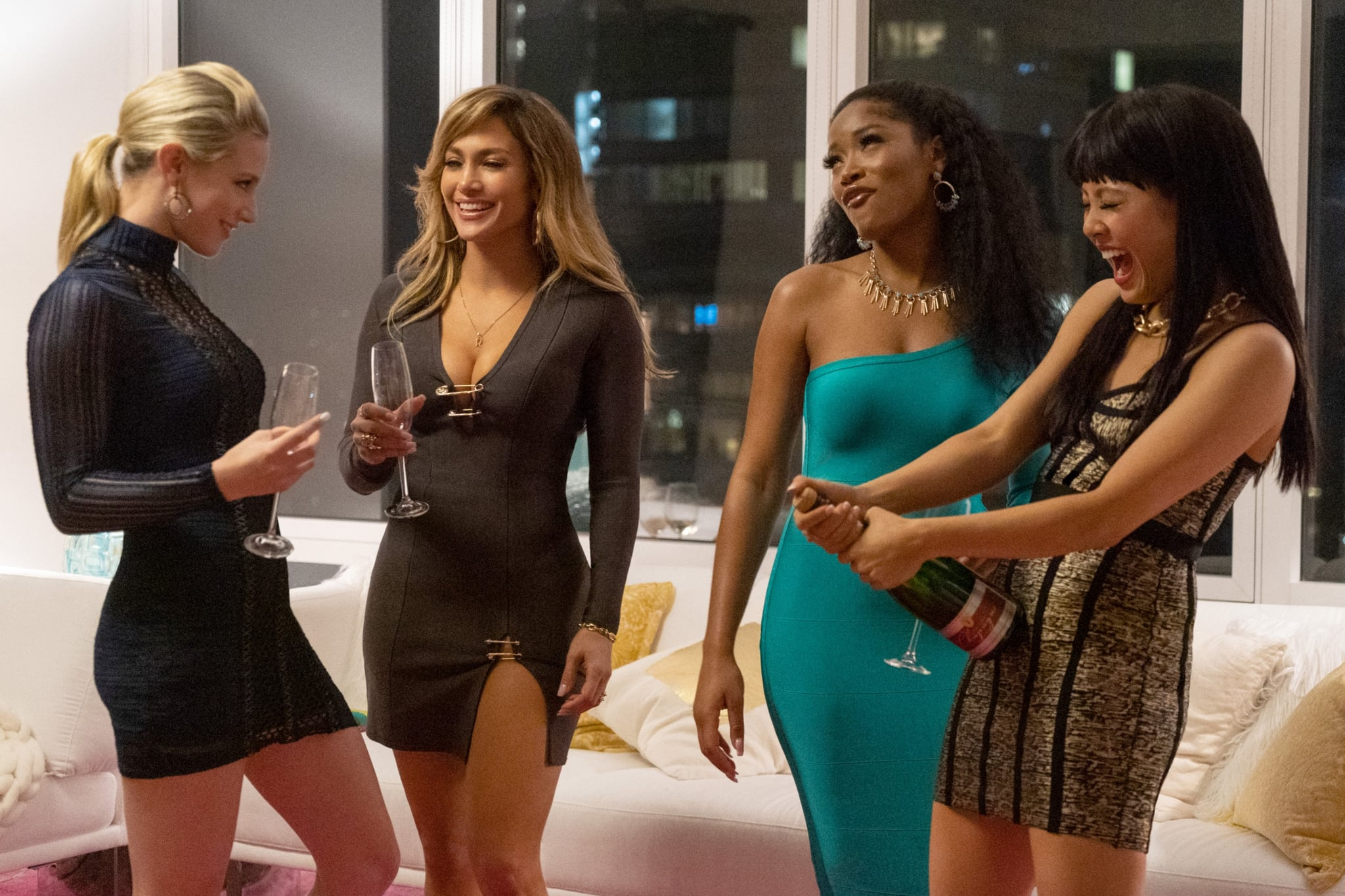 HUSTLERS, from left: Lili Reinhart, Jennifer Lopez, Keke Palmer, Constance Wu, 2019. ph: Barbara Nitke /  STX Entertainment / courtesy Everett Collection