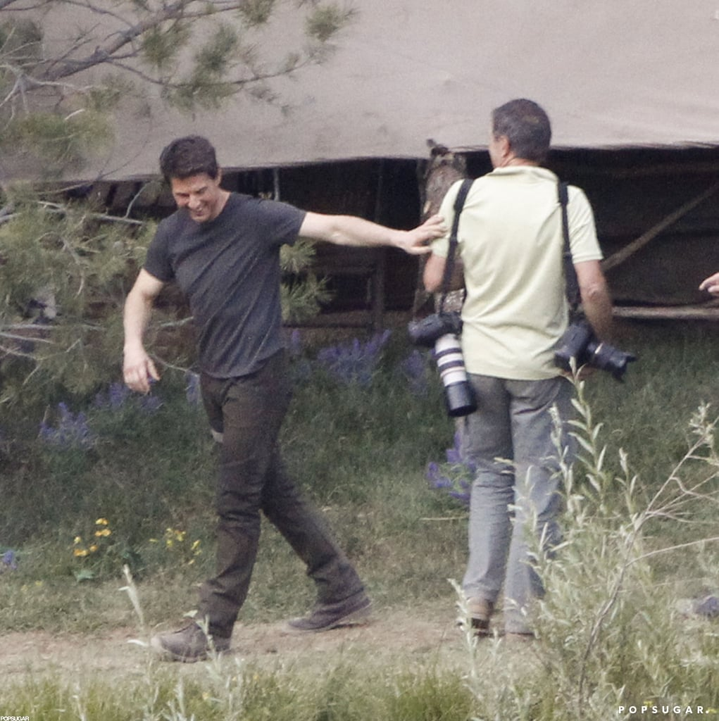 Tom Cruise had a laugh on the set of Oblivion in June Lake, CA.